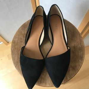 J. Crew black suede leather pointy flats size 10